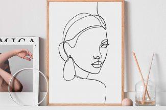 Cuadro estilo Face line graphic art