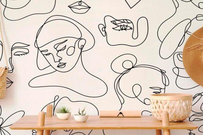 Papel pintado Face line graphic art